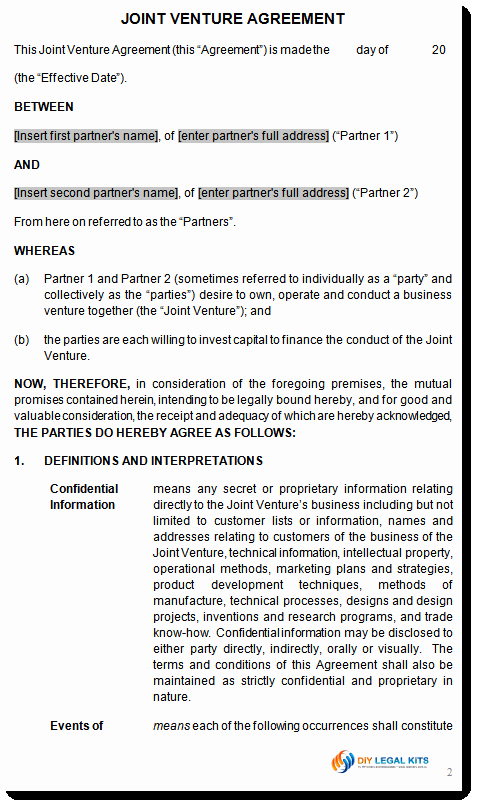 Joint Venture Agreement Template Fresh Joint Venture Agreement Contract Template
