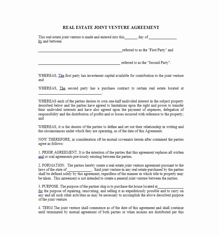 Joint Venture Agreement Template Lovely 53 Simple Joint Venture Agreement Templates [pdf Doc]