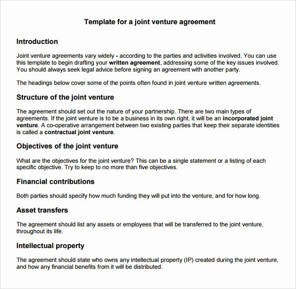 Joint Venture Agreement Template New 10 Joint Venture Templates