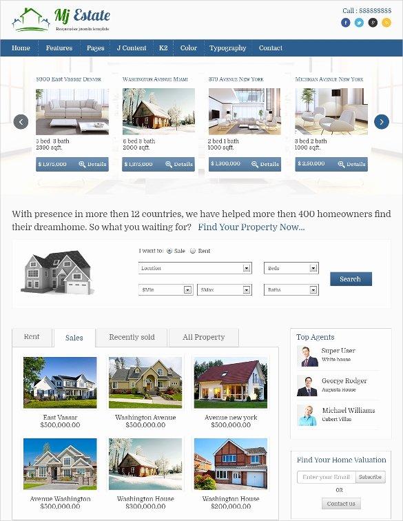 Joomla Real Estate Template Elegant 29 Real Estate Joomla themes & Templates