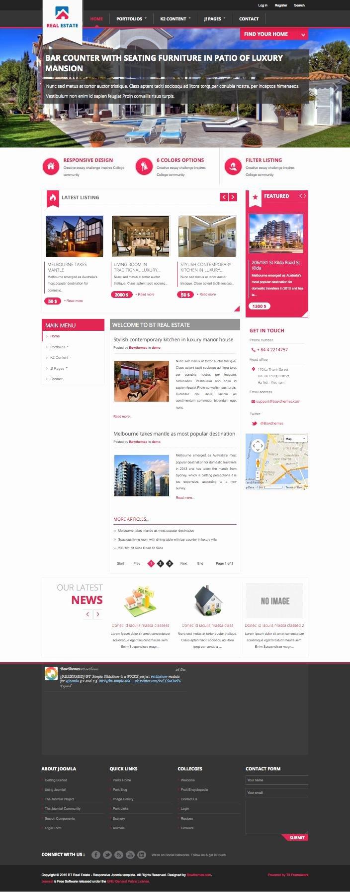bt real estate joomla vacation rentals automotive template