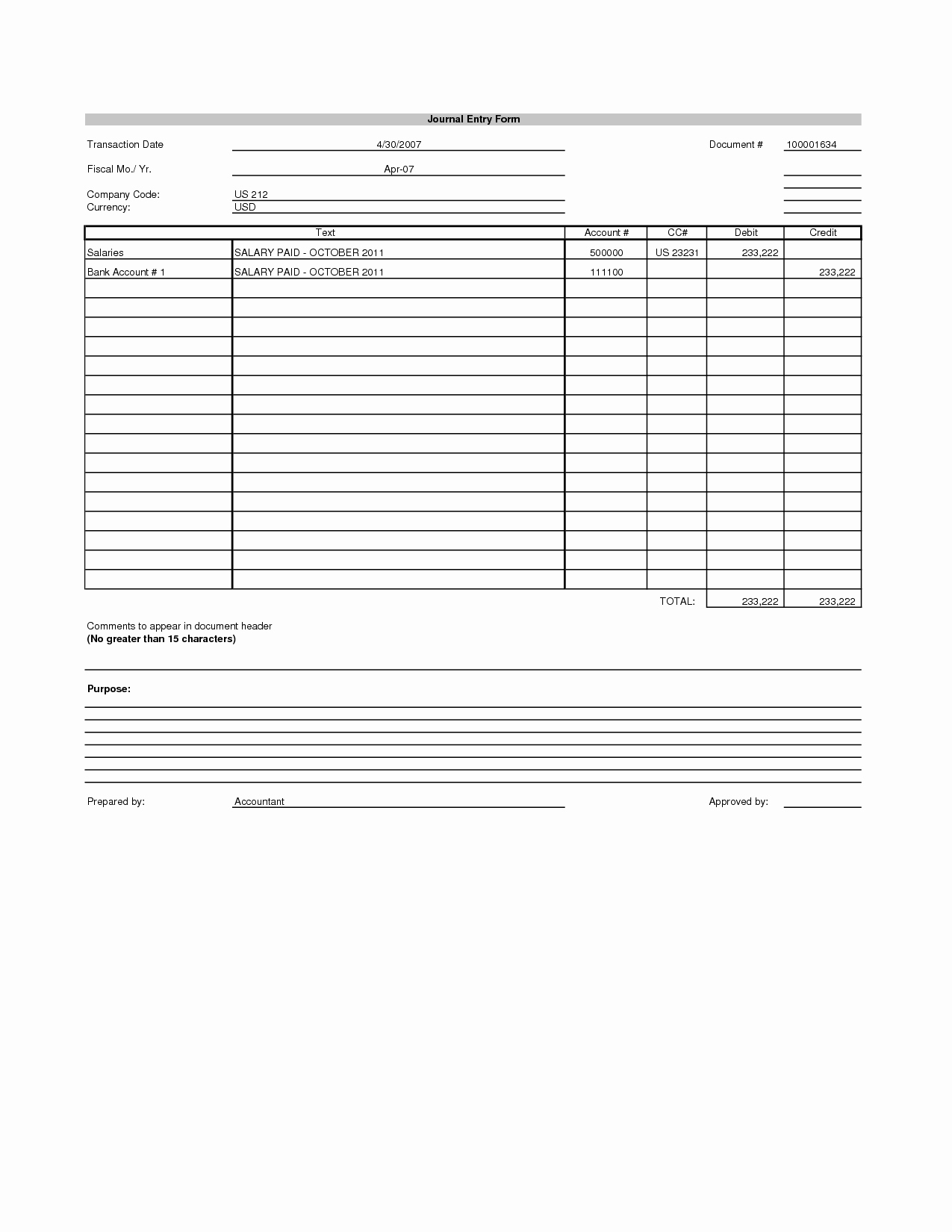 Journal Entry Template Excel Awesome Best S Of Journal Entry Template Excel Blank