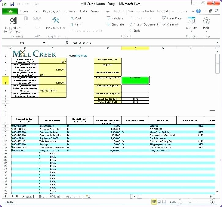 Journal Entry Template Excel New Excel Accounting Journal Entry Template General Journal