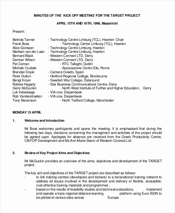 Kick Off Meeting Template Best Of Best Meeting Minutes Template 27 Word Pdf Documents