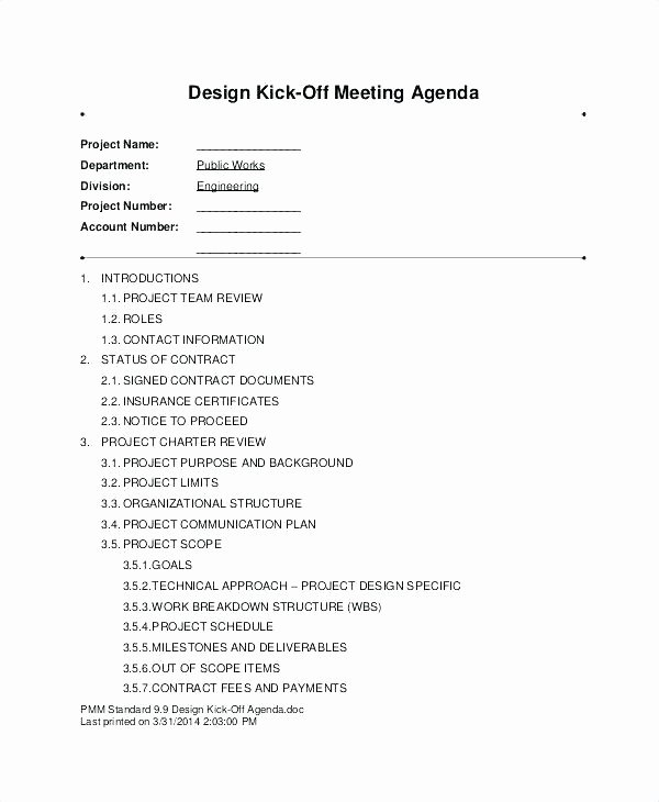 Kick Off Meeting Template Unique Architectural Design Kick F Meeting Agenda 5099