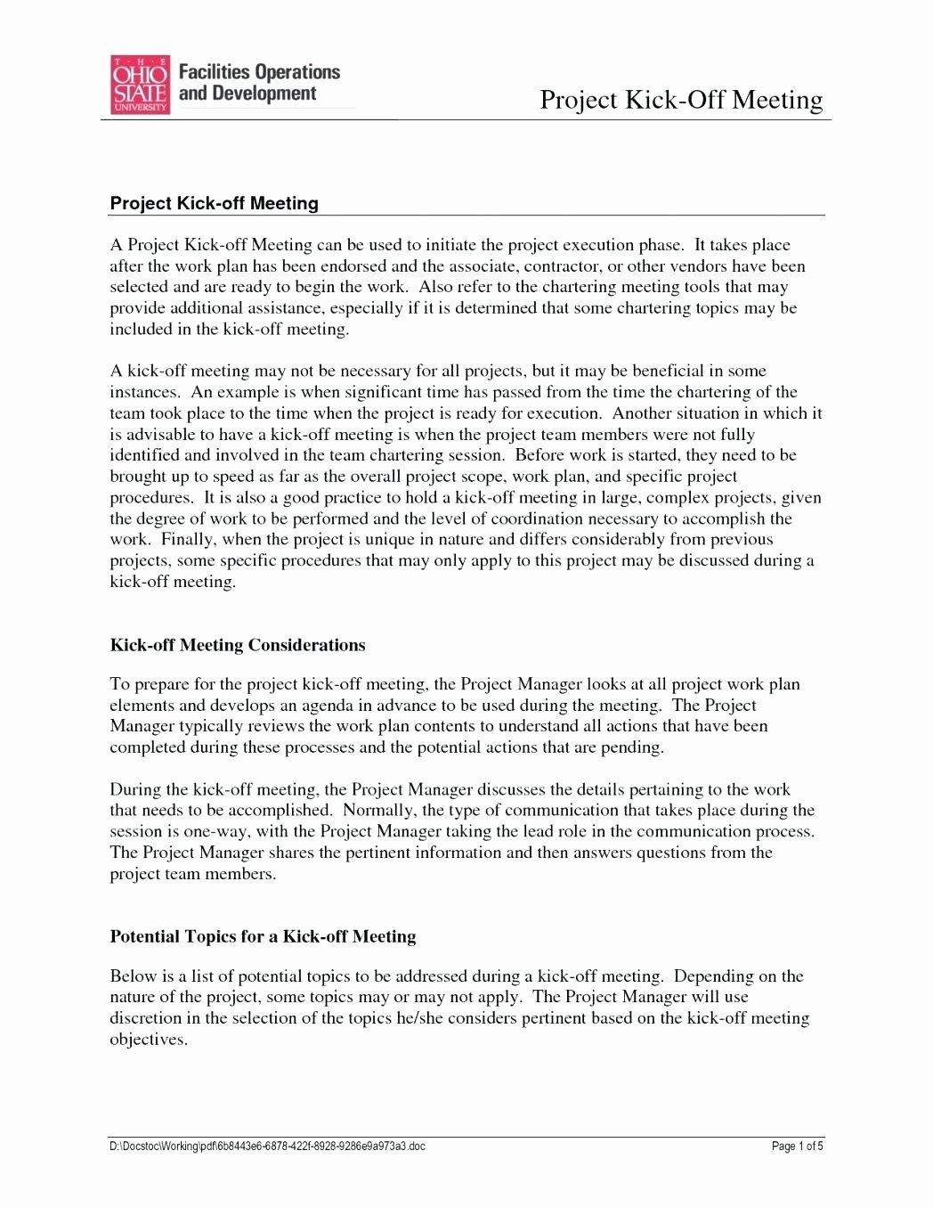 Kick Off Meeting Template Unique Preparing Meeting Agenda Project Status Meeting Agenda
