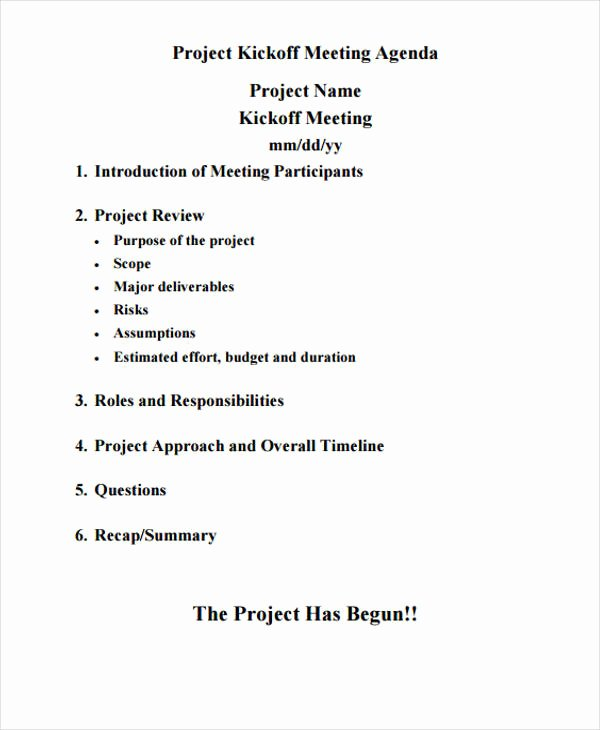 Kickoff Meeting Agenda Template Awesome 41 Meeting Agenda format
