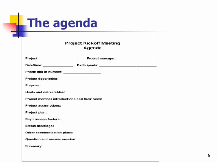 Kickoff Meeting Agenda Template Awesome Effective Project Kickoff Meeting