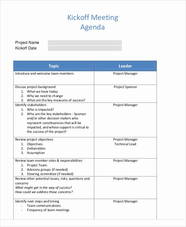 Kickoff Meeting Agenda Template Beautiful Kick F Agenda Samples 6 Free Word Pdf format