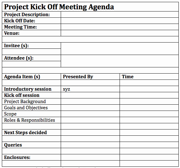 Kickoff Meeting Agenda Template Elegant How to Successfully Lead A Project Kickoff Meeting