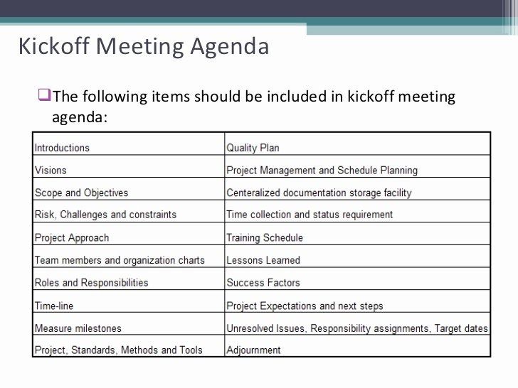 Kickoff Meeting Agenda Template Luxury Project Status Meeting Agenda Template