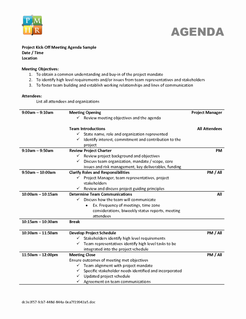 Kickoff Meeting Agenda Template New Qualified Agenda Template Sample for Project Kick F