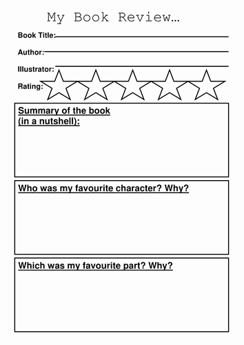 Kindergarten Book Report Template Best Of Book Review Template by Sibrooks Teaching Resources Tes