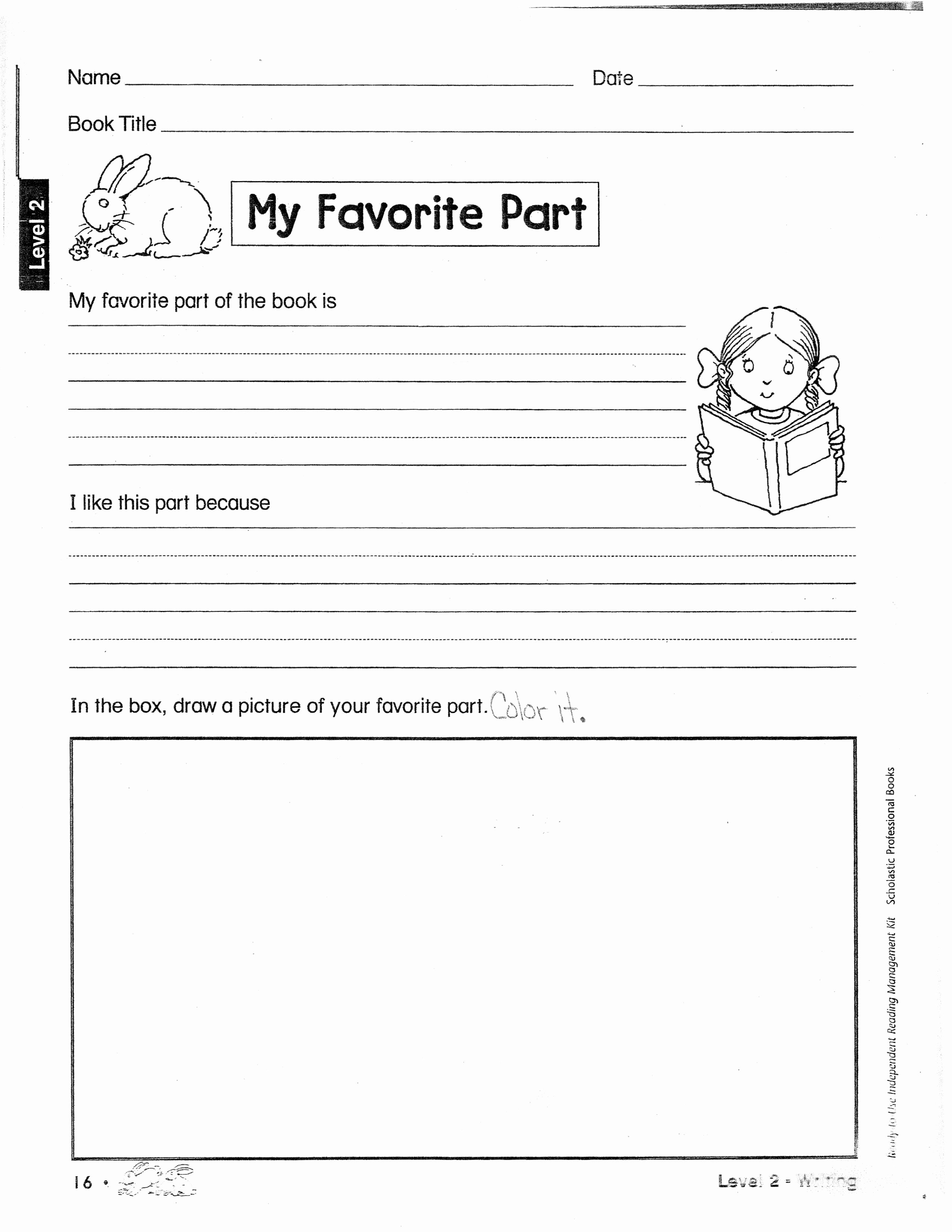 Kindergarten Book Report Template New 16 Best Of Fun Book Report Worksheets Reading