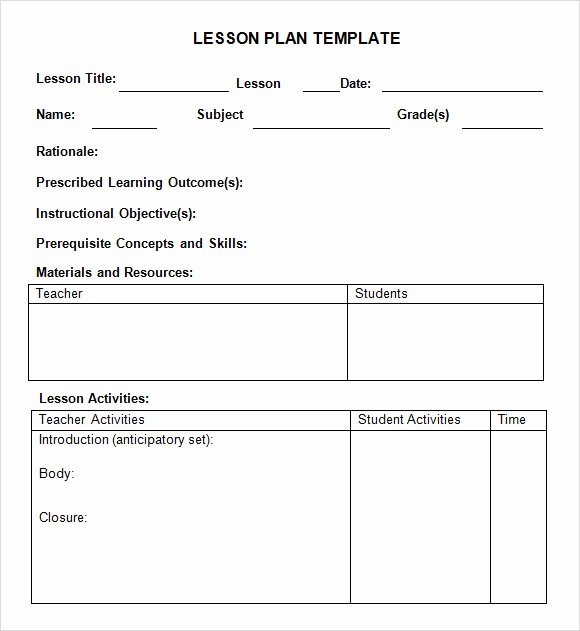 Kindergarten Lesson Plan Template Fresh 8 Weekly Lesson Plan Samples