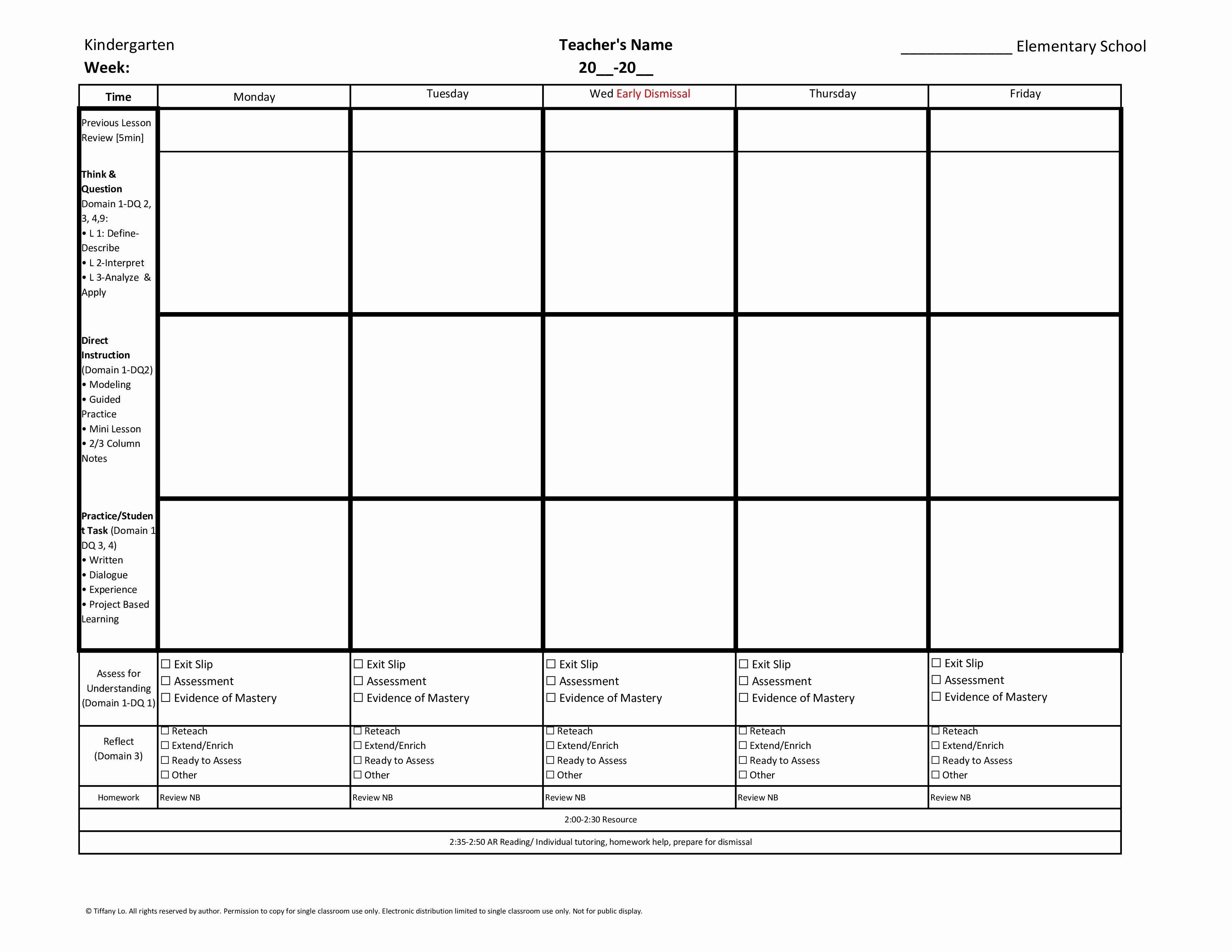 Kindergarten Lesson Plan Template Inspirational Kindergarten Mon Core Weekly Lesson Plan Template W