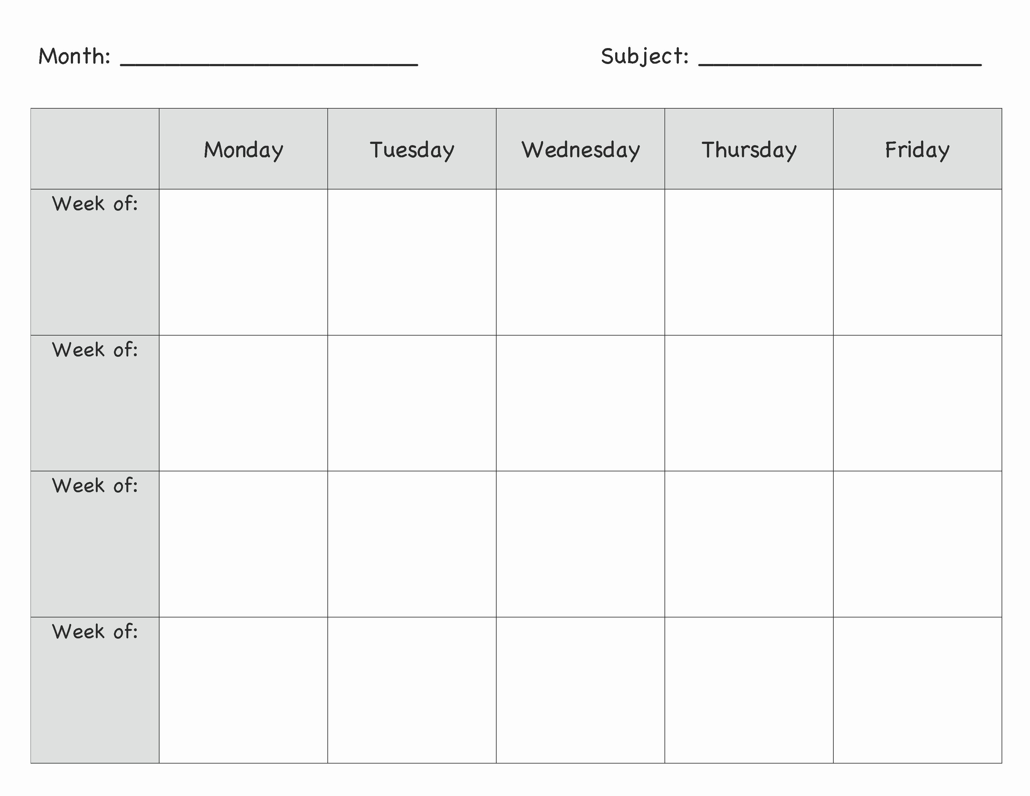 Kindergarten Lesson Plan Template Inspirational Monthly Lesson Plan Template … Lesson Plans