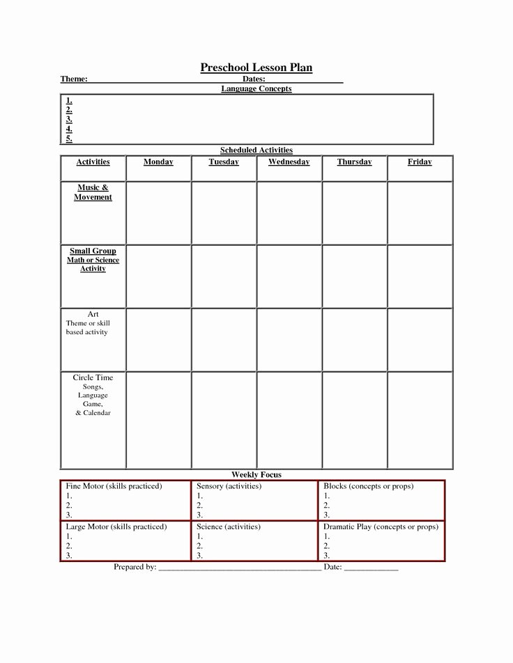 Kindergarten Lesson Plan Template New Preschool Lesson Plan Prek Planning Template