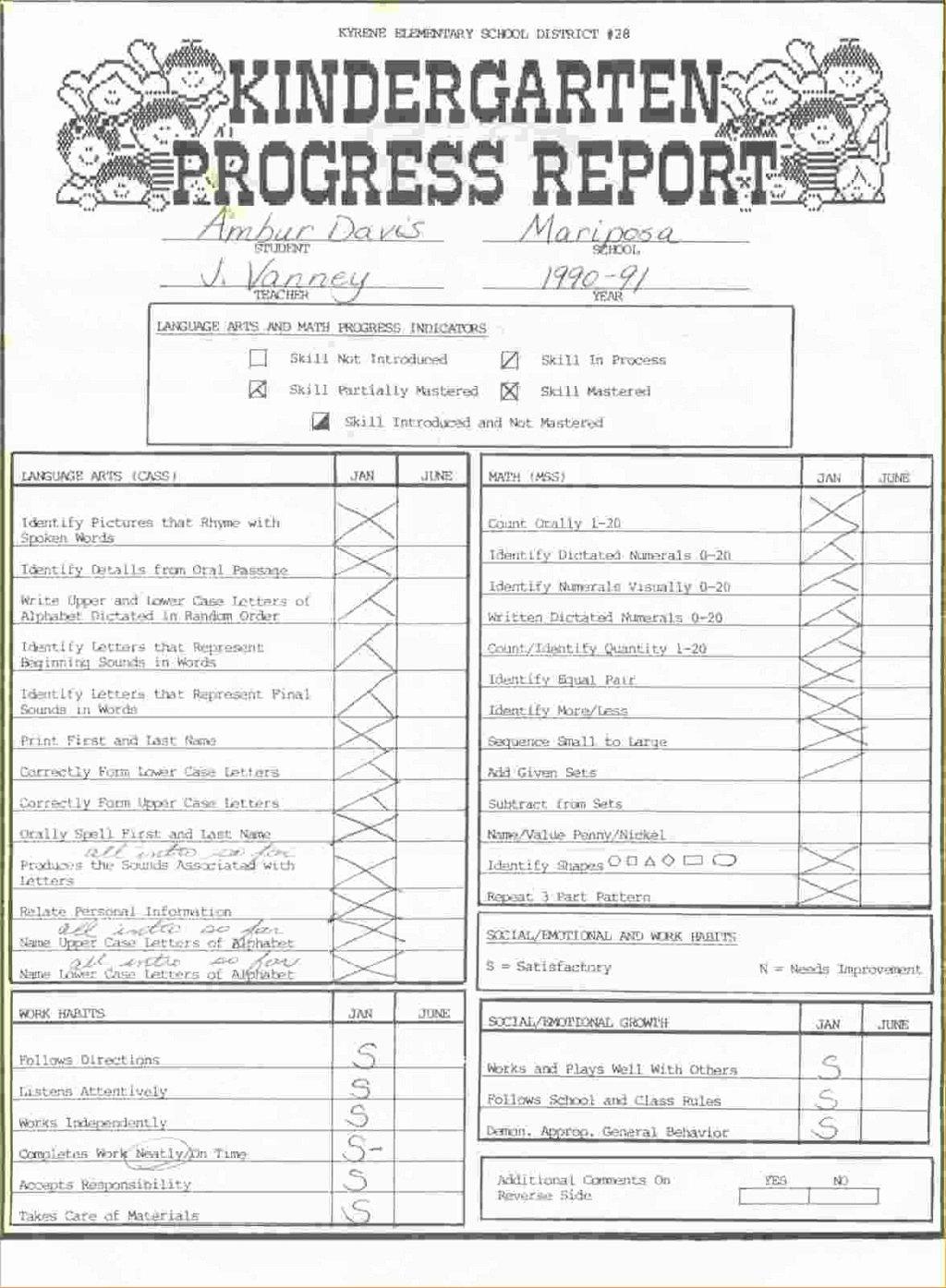 Kindergarten Progress Report Template Elegant Kindergarten Report Card Template Pdf format Deped for