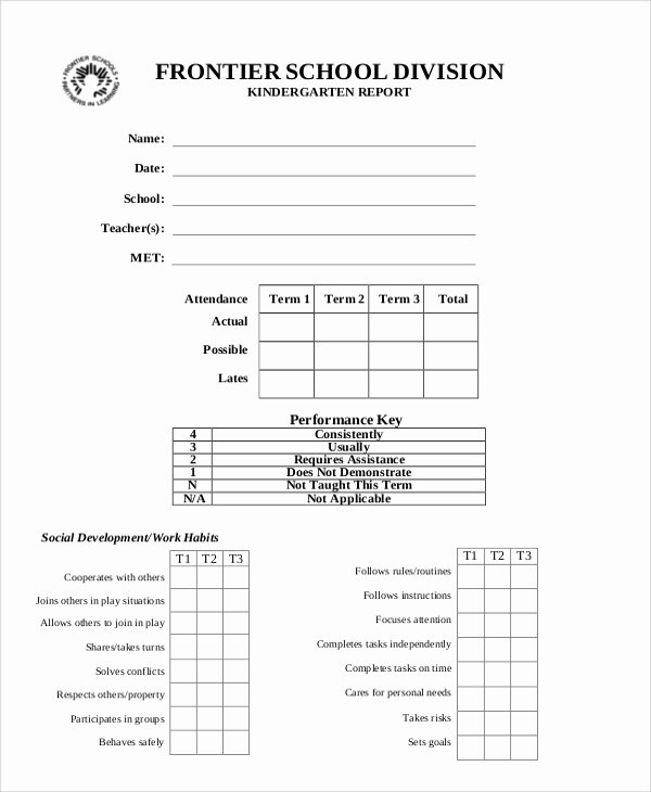 Kindergarten Report Card Template Beautiful 6 Sample Report Cards