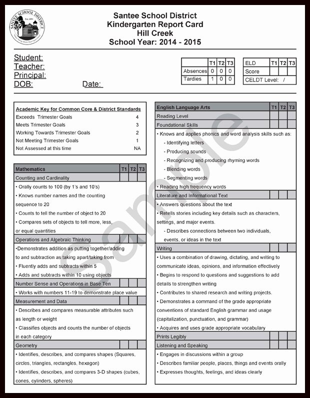 Kindergarten Report Card Template Beautiful assessment Ccss Report Cards