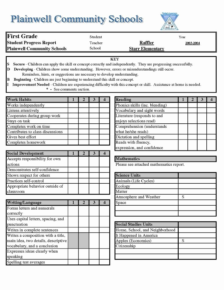 Kindergarten Report Card Template Best Of 1000 Images About Report Cards On Pinterest