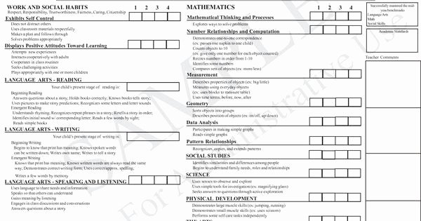 Kindergarten Report Card Template Fresh Best 25 Kindergarten Report Cards Ideas On Pinterest