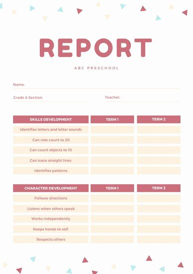 Kindergarten Report Card Template Inspirational Customize 81 Preschool Report Card Templates Online Canva