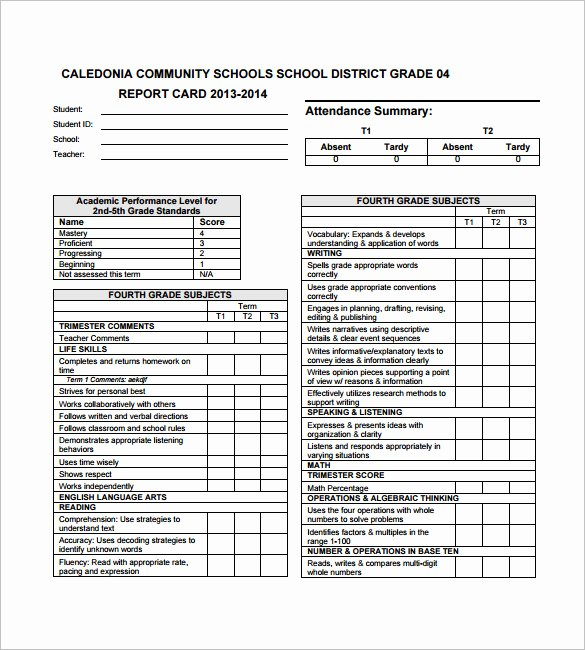Kindergarten Report Card Template Unique 26 Progress Report Card Templates Google Doc Pdf Psd