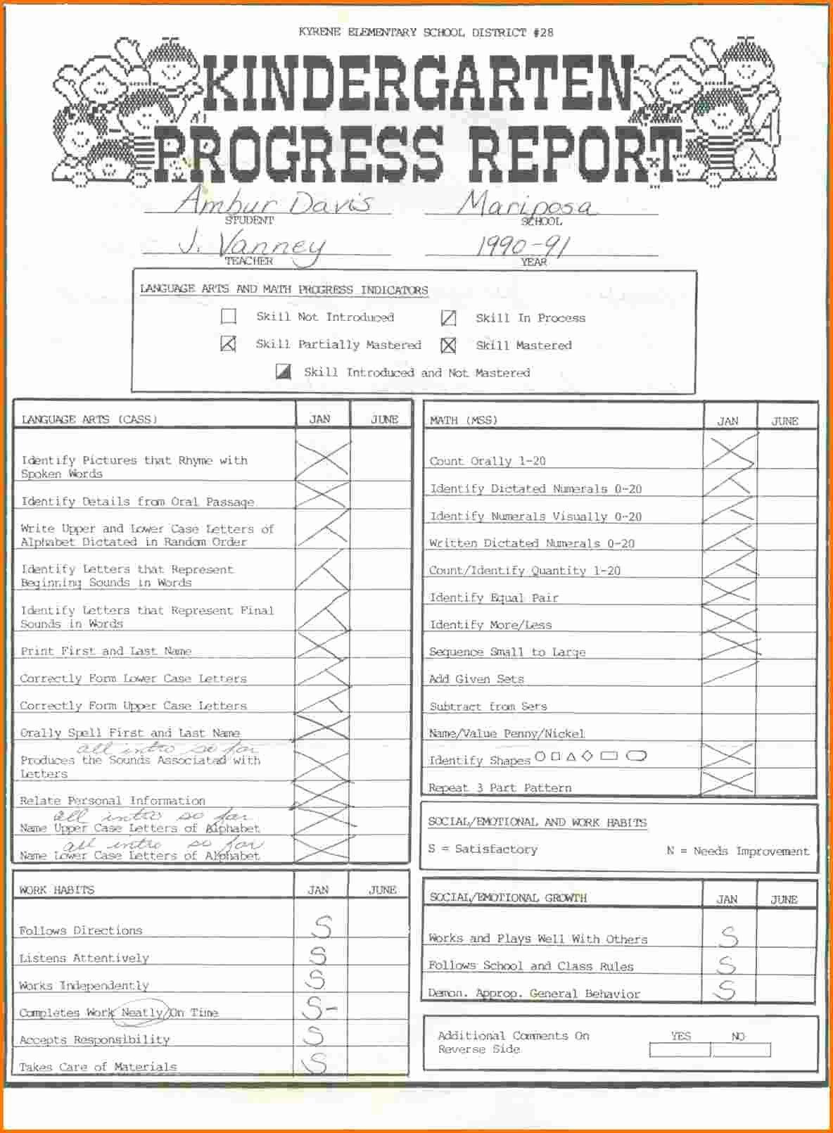 Kindergarten Report Card Template Unique 4 Kindergarten Report Card Template