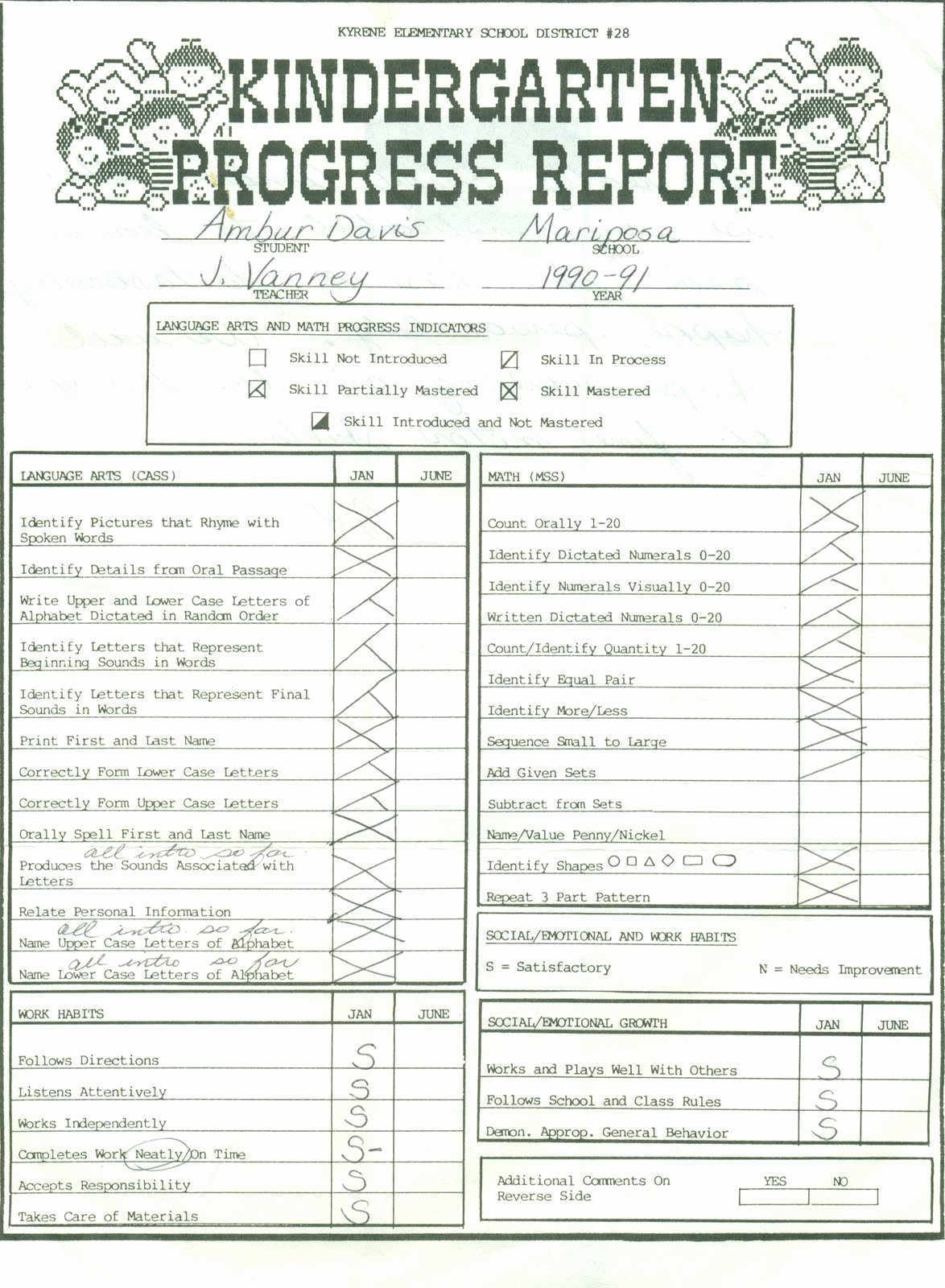 Kindergarten Report Card Template Unique A Gift From Heaven 1990 Skills Report Card and Progress