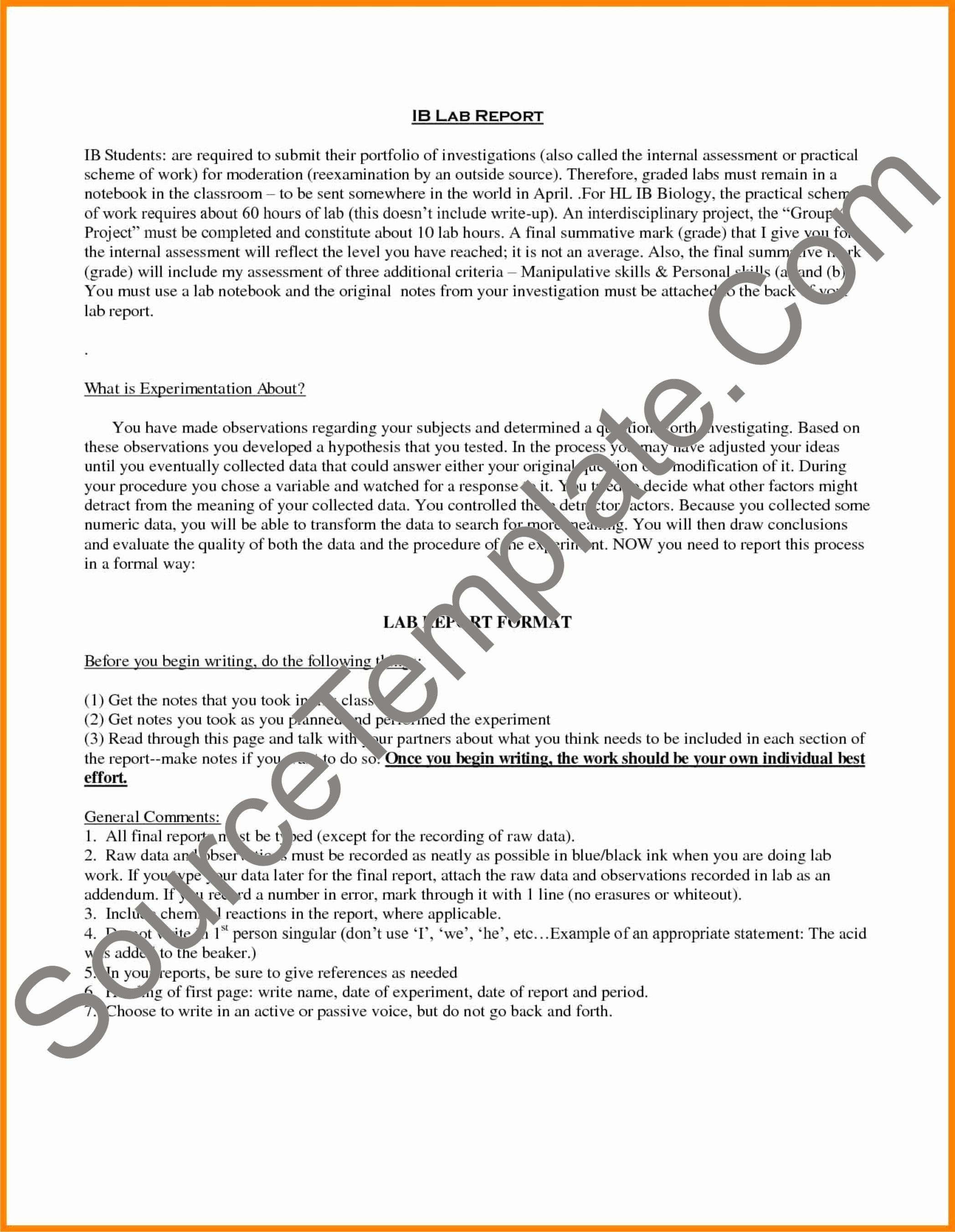 Lab Report Template Word Awesome Lab Report Template High School Free Word Download