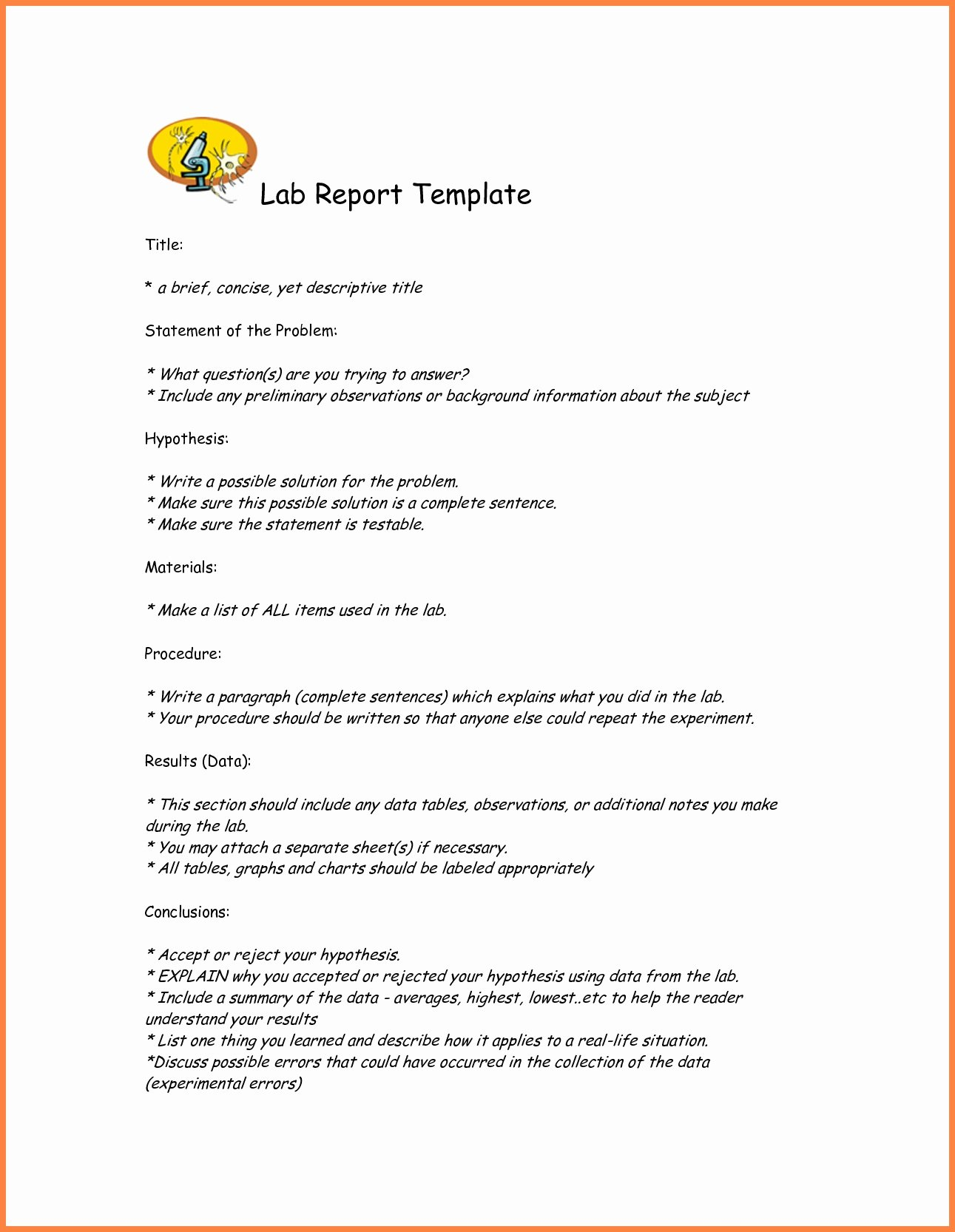 Lab Report Template Word Best Of Lab Report Template