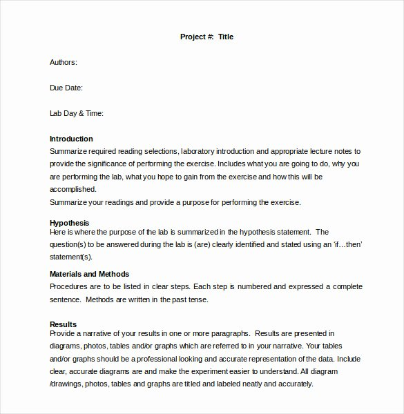 Lab Report Template Word Elegant 28 Lab Report Templates Pdf Google Docs Word Apple