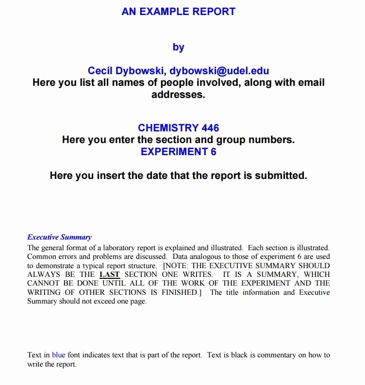 Lab Report Template Word Elegant Laboratory Report Template Free formats Excel Word