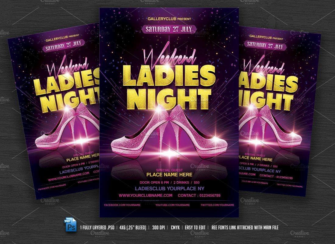 Ladies Night Flyer Template Fresh Weekend La S Night Flyer Flyer Templates Creative Market