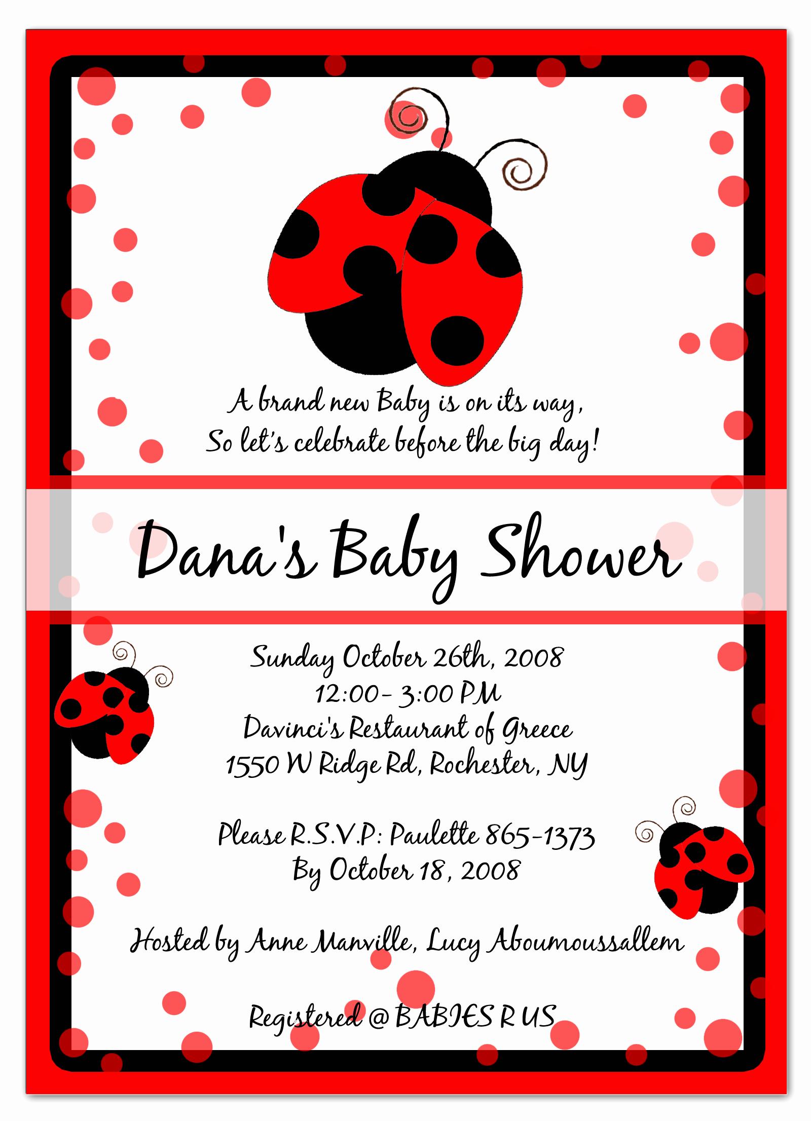 Ladybug Invitations Template Free Awesome Ladybug Baby Shower Invitations