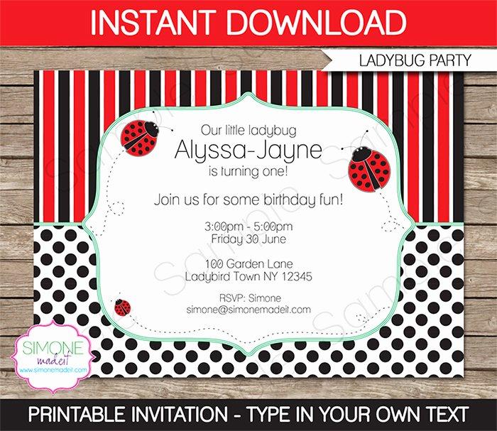 Ladybug Invitations Template Free Beautiful Ladybug Birthday Party Invitations