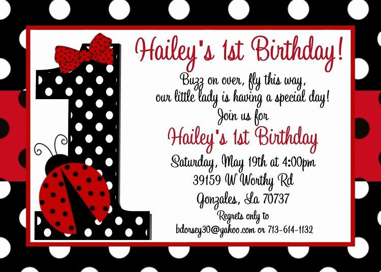 Ladybug Invitations Template Free Best Of Ladybug 1st Birthday Invitations