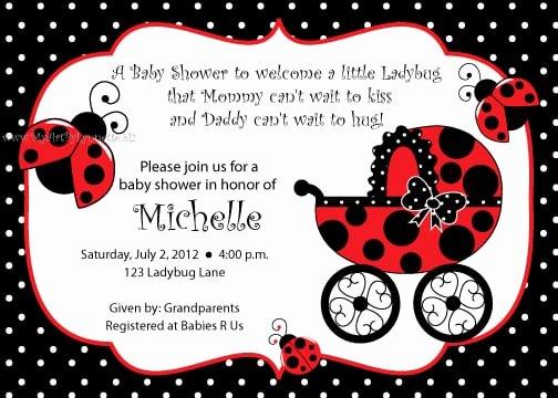 Ladybug Invitations Template Free Elegant Free Printable Ladybug Baby Shower Invitation