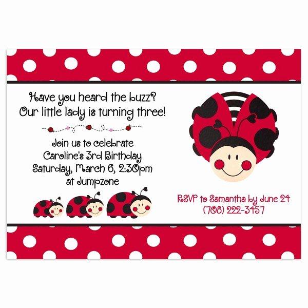 Ladybug Invitations Template Free Elegant Ladybug Birthday Card Template