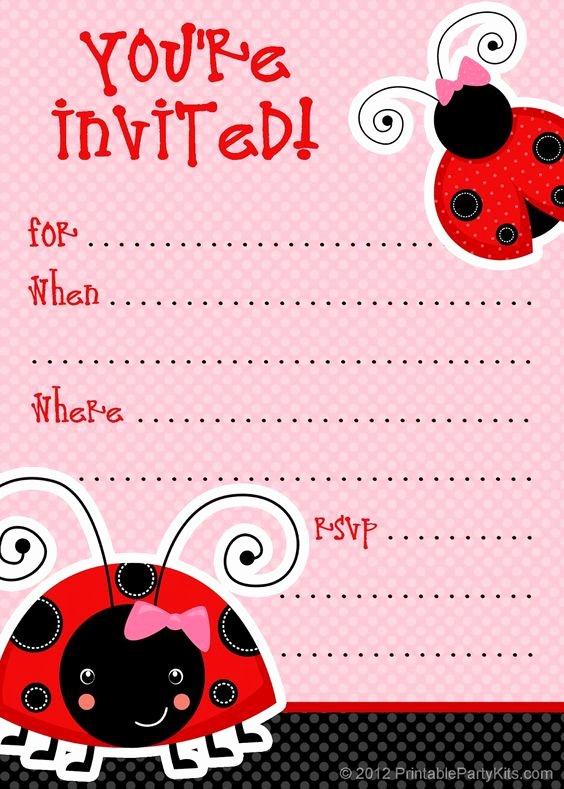 Ladybug Invitations Template Free Fresh Ladybug Party Ladybugs and Party Invitations On Pinterest