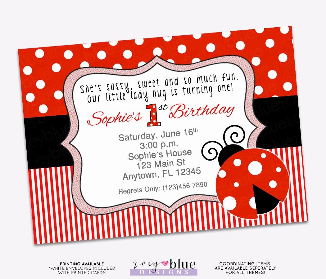 Ladybug Invitations Template Free Lovely Ladybug Birthday Invitation 1st First Birthday Invitation Lady