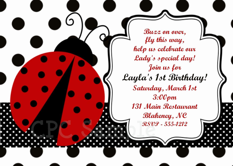 Ladybug Invitations Template Free Lovely Ladybug Party Invitation Printable or Printed Invite