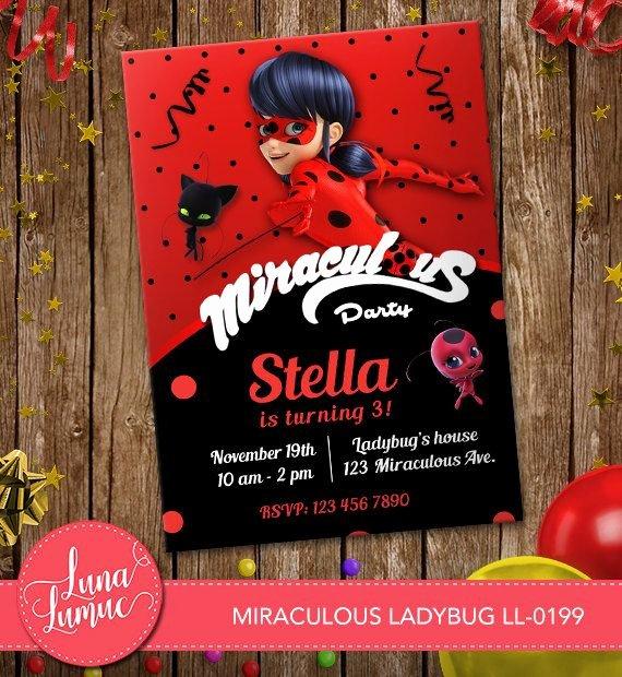 Ladybug Invitations Template Free Lovely Miraculous Ladybug Invitation Card Prodigious Ladybug