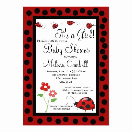 Ladybug Invitations Template Free Lovely Red Black Ladybug Baby Shower Invitation Template