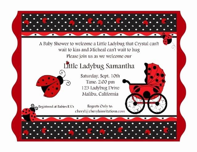 Ladybug Invitations Template Free Unique Free Printable Ladybug Baby Shower Invitation