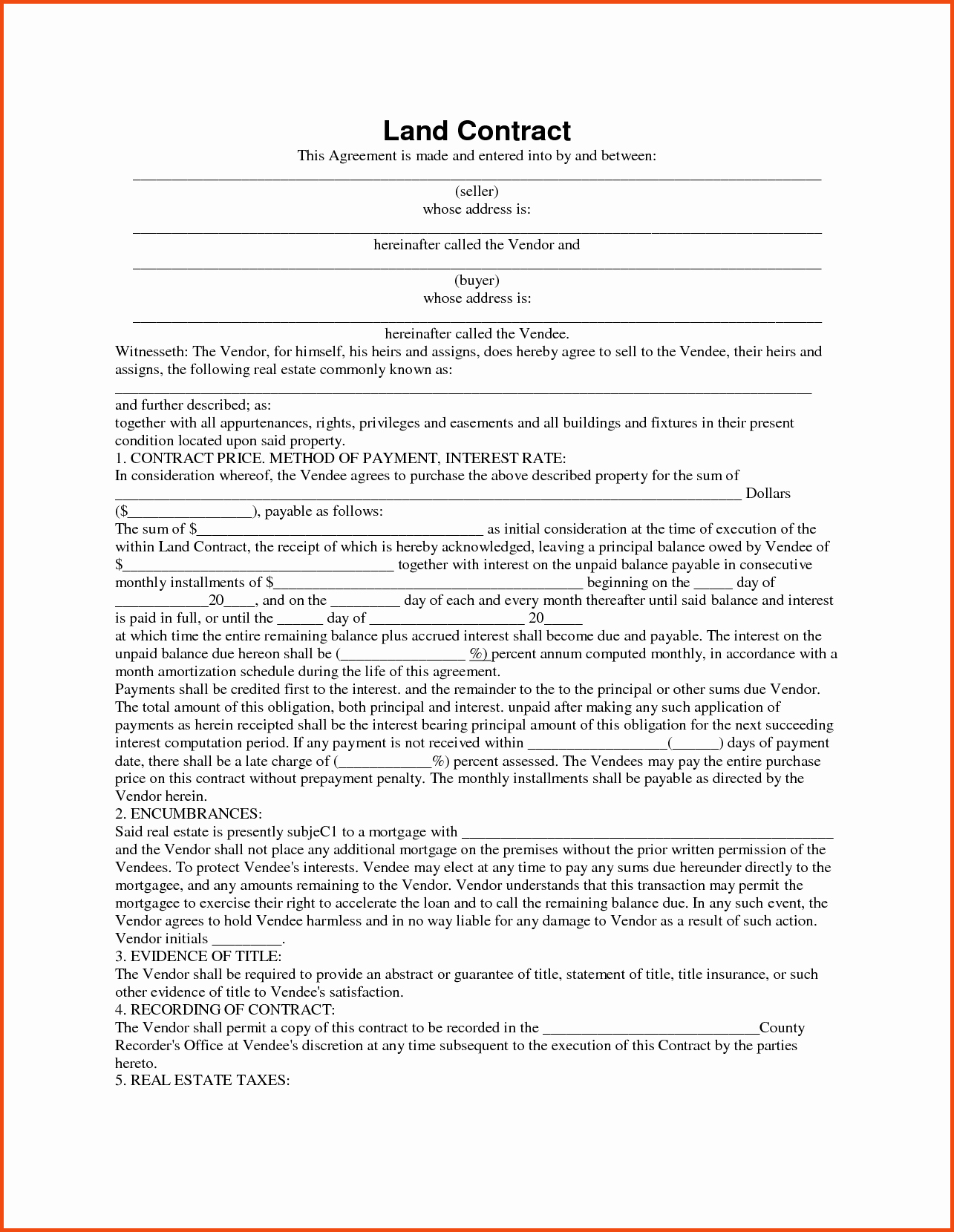 inspiration land contract form