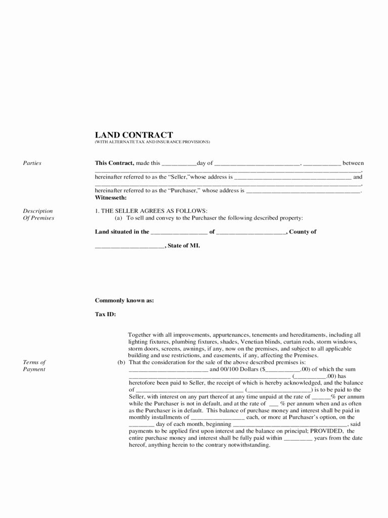 Land Contract Template Ohio Best Of Land Purchase Agreement Michigan original Ohio Land