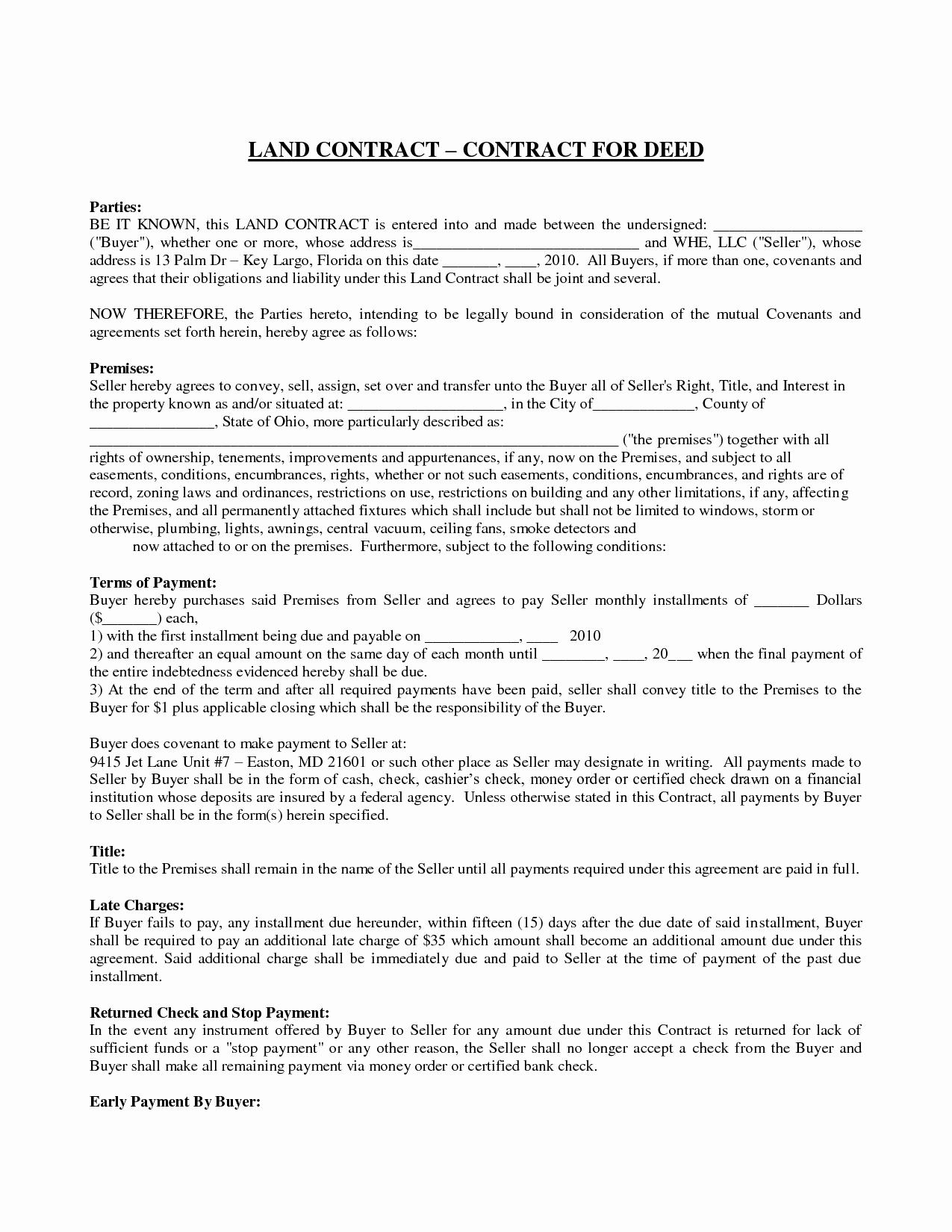 Land Contract Template Ohio New 9 Best Of Land Contract Agreement forms Free Free